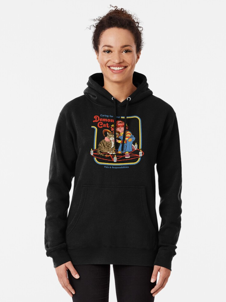 Alternate view of Caring For Your Demon Cat Pullover Hoodie
