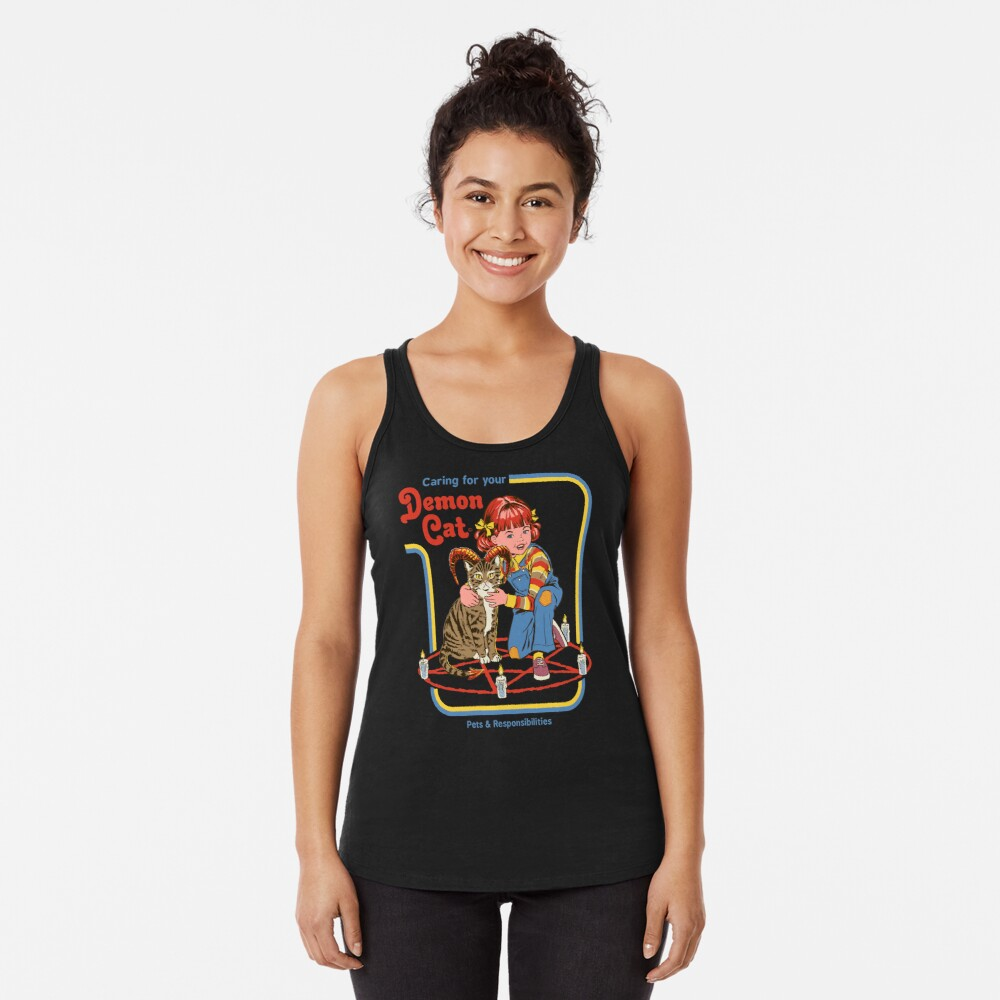 Caring For Your Demon Cat Racerback Tank Top