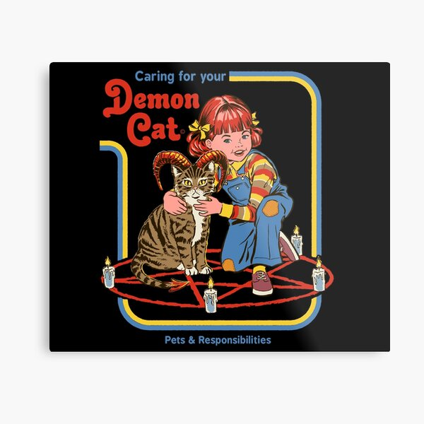 Caring For Your Demon Cat Metal Print