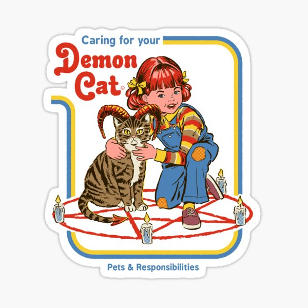 Caring For Your Demon Cat Sticker