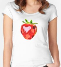 Strawberry Heart Women's Fitted Scoop T-Shirt