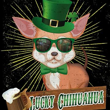 Chihuhua Irish Dog St. Patrick's day T-Shirt dog drinking by fermo