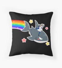 Wadanohara and the Great Blue Sea - Wadanohara and Samekichi riding the Rainbow Throw Pillow