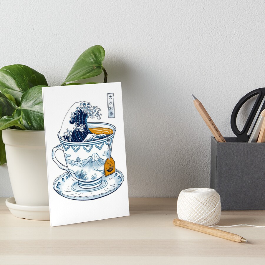 The Great Kanagawa Tea Art Board Print