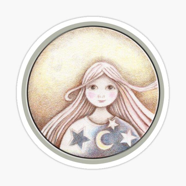 girl on the moon Sticker