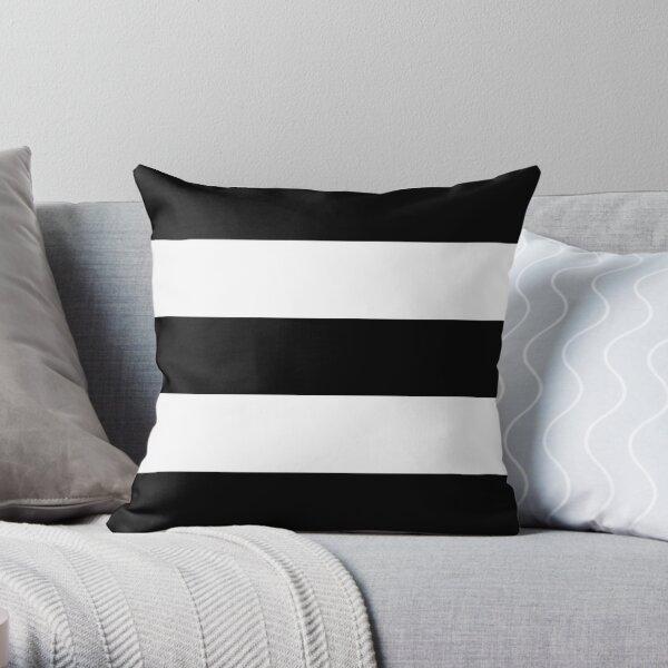 Black & White Wide Horizontal Stripes #2 Throw Pillow