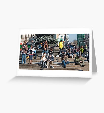 Looking at the People: Piccadily Circus People Details Greeting Card