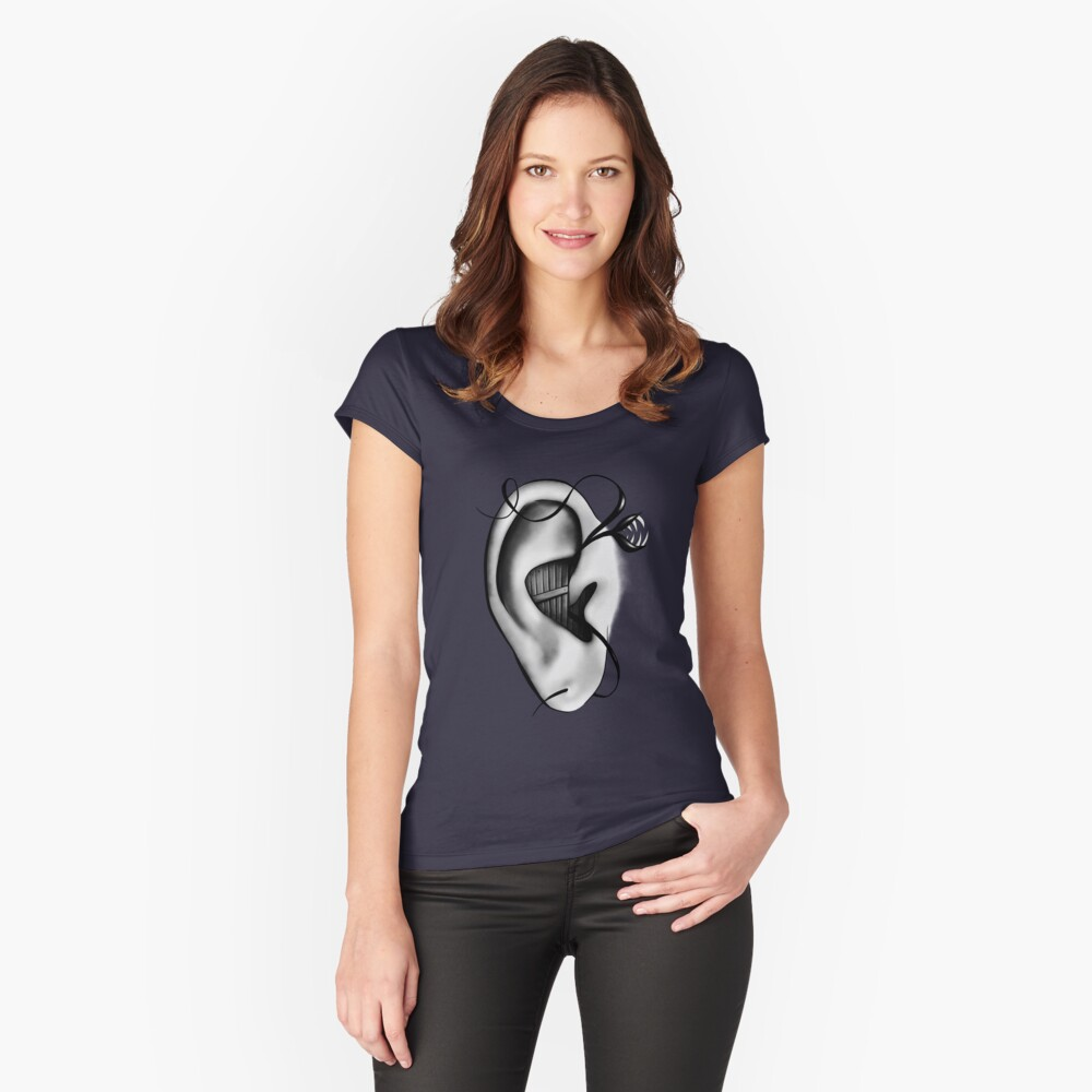 Ear Monster Weird Art Fitted Scoop T-Shirt