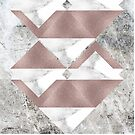Shimmering Rosegold and Marble Triangles on Concrete Stone Surface by cadinera