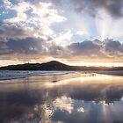 Sunrise Reflections on Byron Bay Beach by LukeDavidPhoto