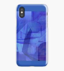 computer generated landscape (blue) iPhone Case/Skin