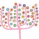Candy Pink Bubblegum Circle Tree by Pip Gerard