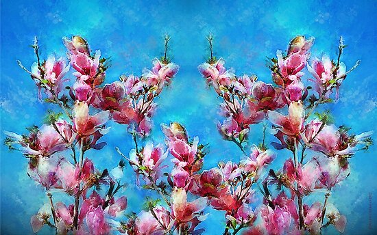 Pink Magnolias Blue Sky by © Helen Chierego