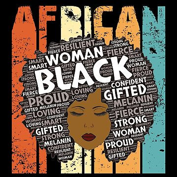 Retro Afro Word Art Hair Black History Woman T-Shirt Typography African American Gift  by KhushbooLohia