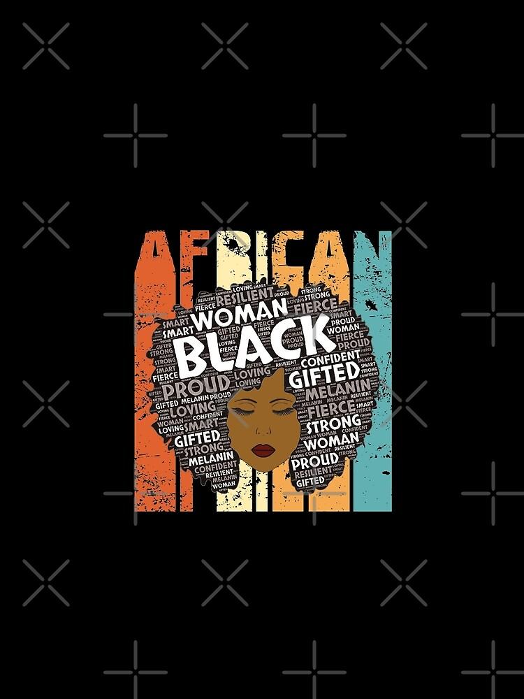 Retro Afro-Wort Art Hair Black Geschichtsfrauen-T-Shirt Typografie-Afroamerikaner-Geschenk von KhushbooLohia