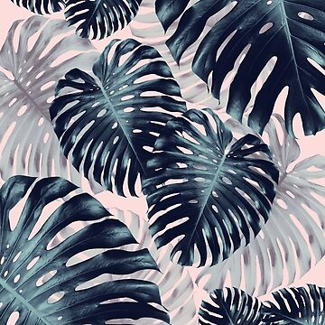 Tropical Monstera Jungle Leaves Pattern #2 #tropical #decor #art  by anitabellajantz