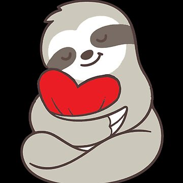 Sloth Hearts Love Valentines Gift for Him/ Her Cute T-Shirt by KhushbooLohia
