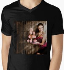 Young baking woman with boutique desert platter Men's V-Neck T-Shirt