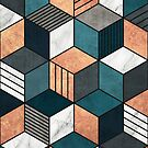 Copper, Marble and Concrete Cubes 2 with Blue by Zoltan Ratko