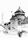 Harveys Brewery Main Building Lewes Black and White by Dorothy Berry-Lound