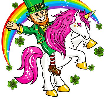 Leprechaun Riding Unicorn St. Patrick's by frittata