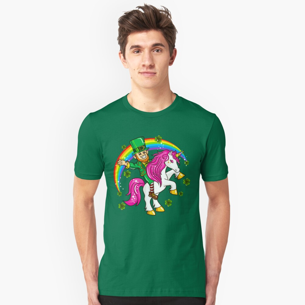 Leprechaun Riding Unicorn St. Patrick's Unisex T-Shirt Front