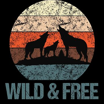 Wild & Free Vintage Sunset Wolves Howling Distressed by LarkDesigns