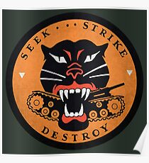 Seek Strike Destroy Tank Destroyer Emblem Poster