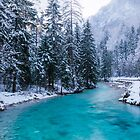 Magical river in enchanted winter forest by Patrik Lovrin