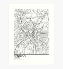 Bendigo map poster print wall art, Victoria gift printable, Home and Nursery, Modern map decor for office, Map Art, Map Gifts Art Print