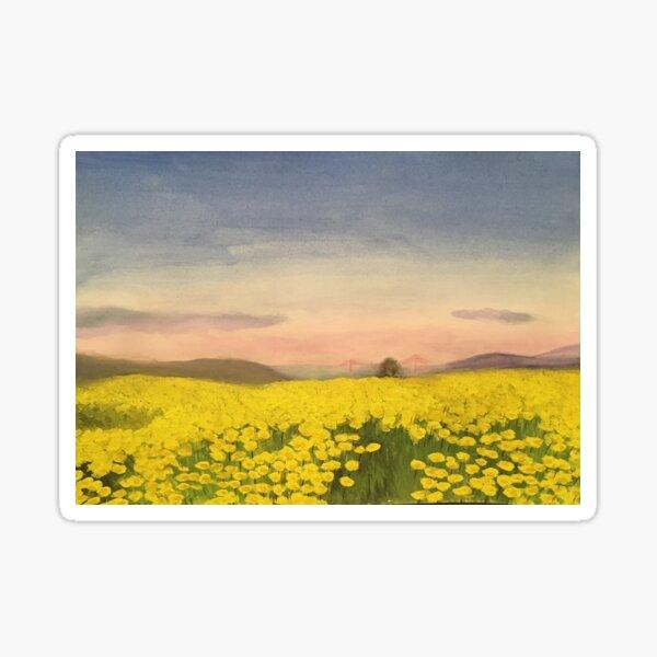 Golden Gate Blooms - original painting by mjh Sticker