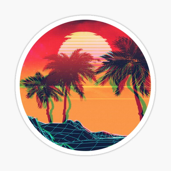 Vaporwave landscape with rocks and palms Sticker