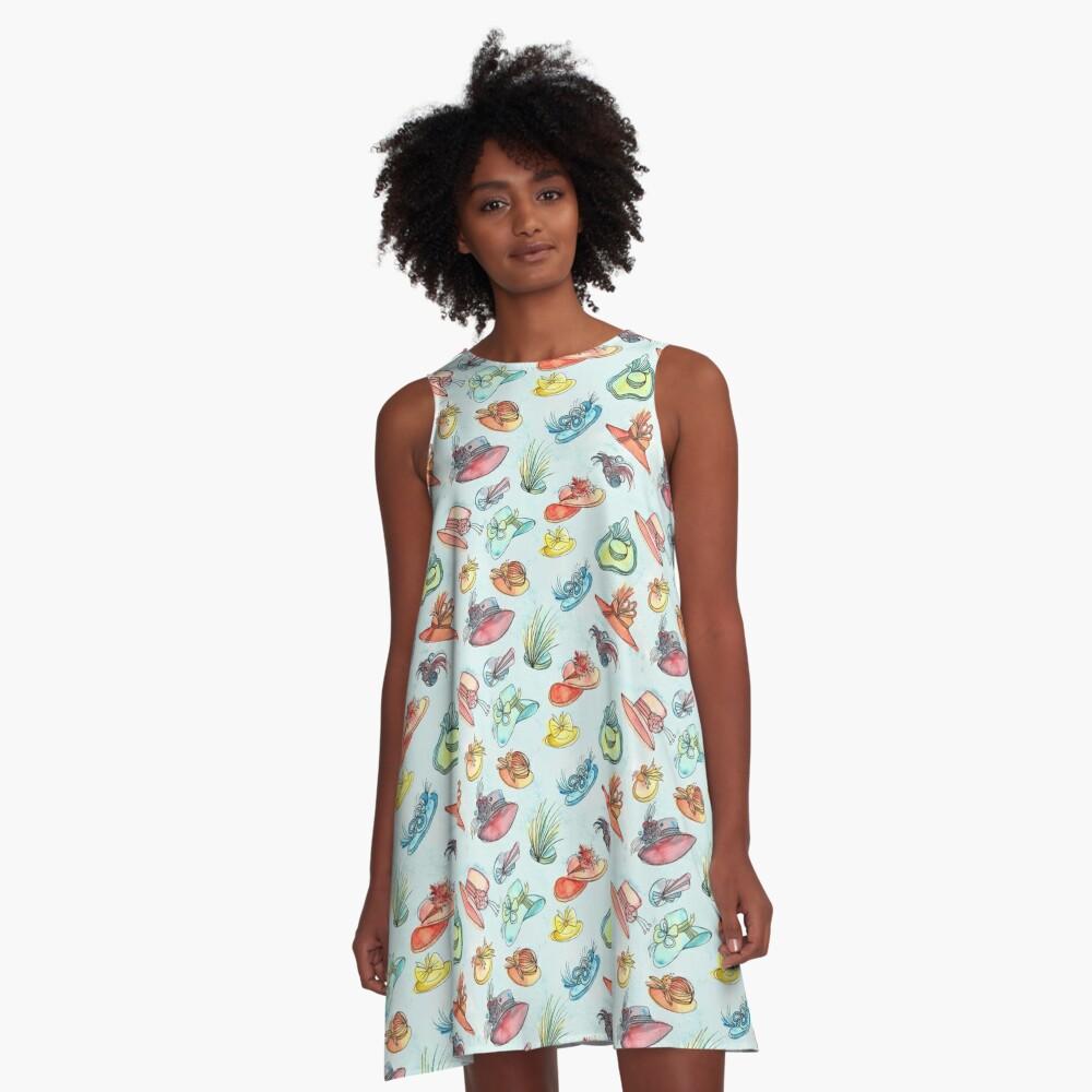 Hand painted Watercolor Pattern - Hats - Ascot Gavotte A-Line Dress