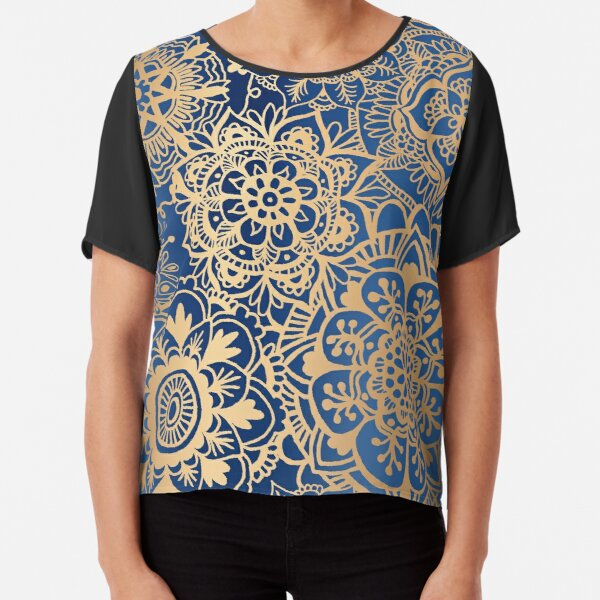 Blue and Gold Mandala Pattern Chiffon Top