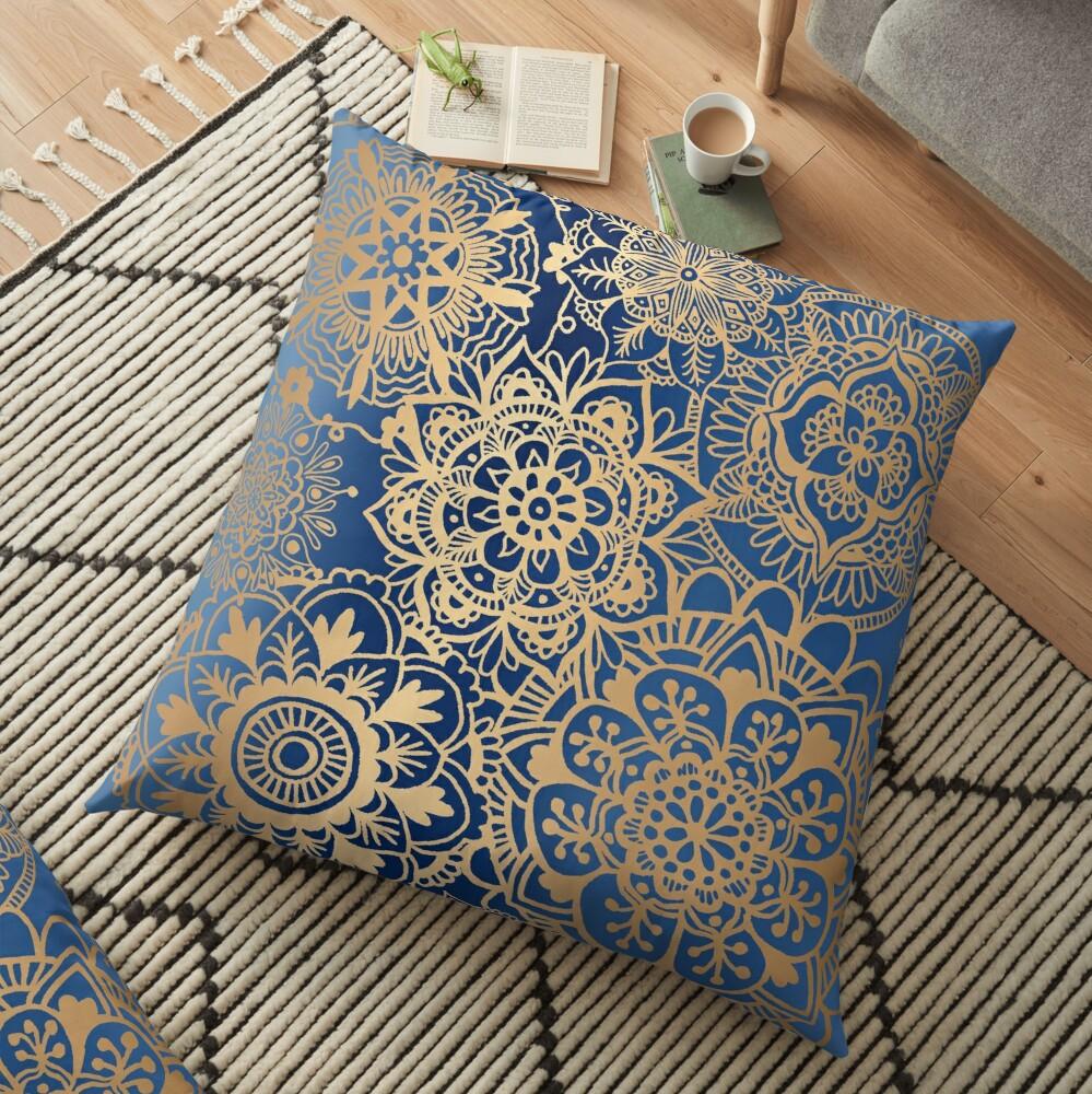 Blue and Gold Mandala Pattern Floor Pillow