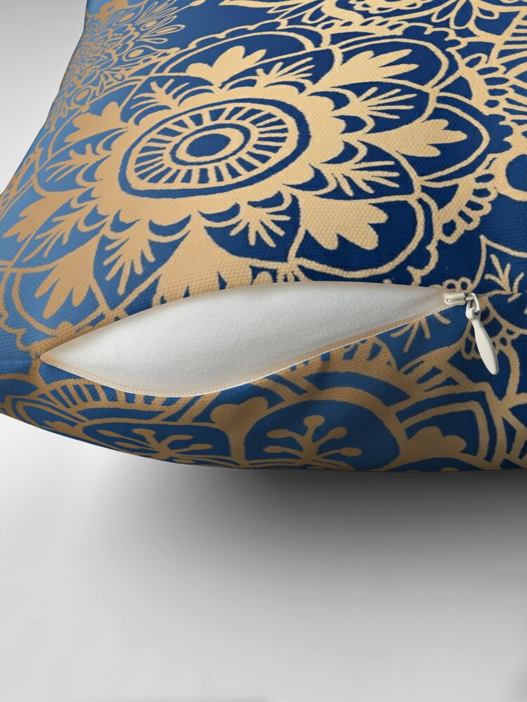 Alternate view of Blue and Gold Mandala Pattern Floor Pillow