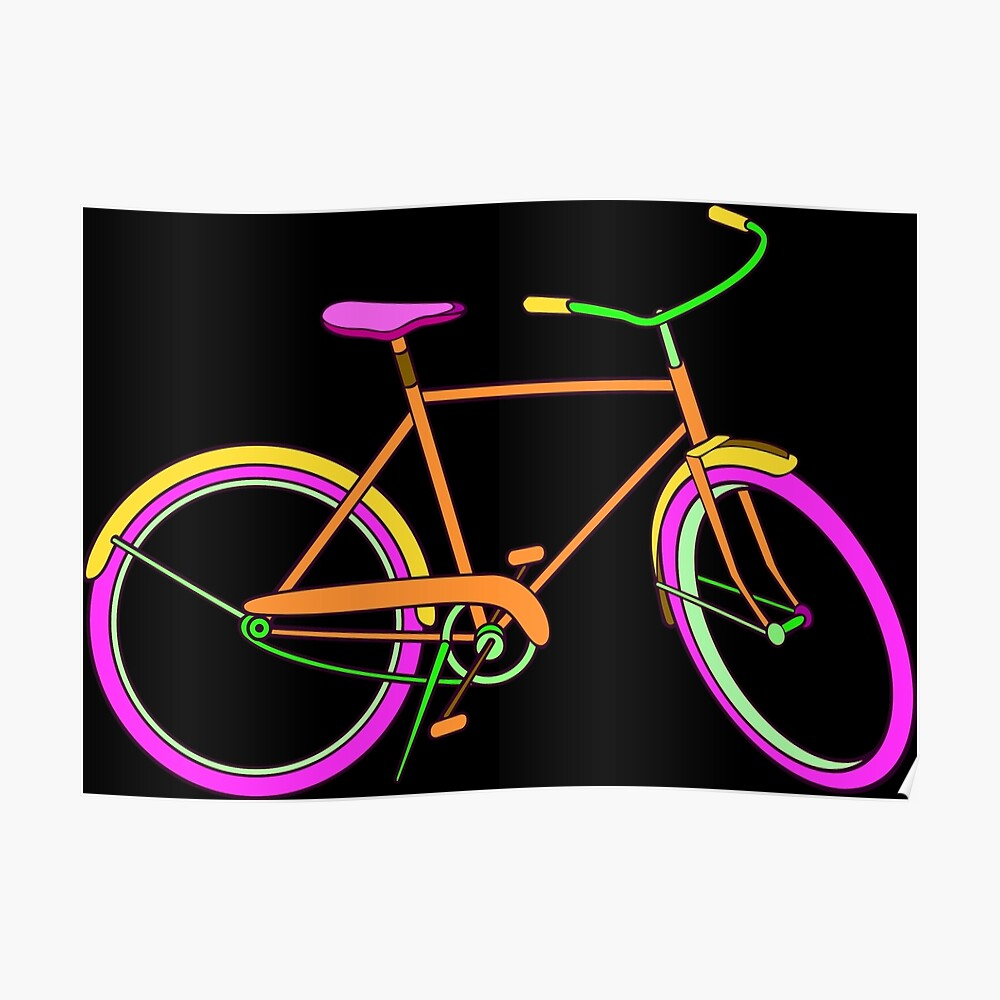 Neon Bike with Pink Poster