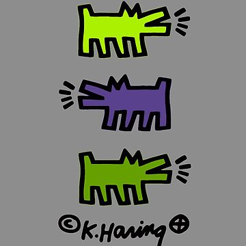 KEITH HARING´S DOG POP ART (LEMON/PURPLE/GREEN) (V3) by SUNSET-STORE