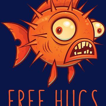 Free Hugs Cartoon Blowfish by fizzgig