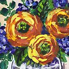 Impressionistic Floral Bouquet Yellow Splash by Irina Sztukowski