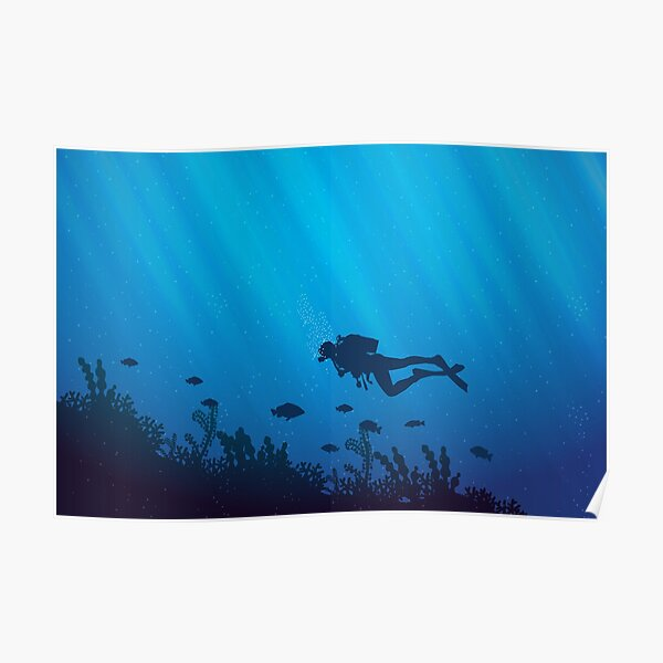 Scuba Diving Pattern Poster