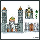 puebla city architectural watercolor by jorgelebeau