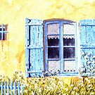 Blue shutters and cow parsley by FranEvans