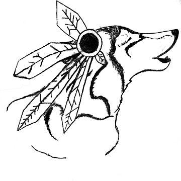 Native American Howling Wolf by DazedPurple