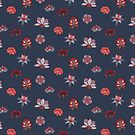 Navy Indian floral pattern by purplesparrow
