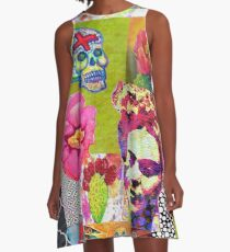 Frida Kahlo and Mexico Collage Pattern A-Line Dress