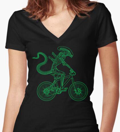 Alien Ride Women's Fitted V-Neck T-Shirt