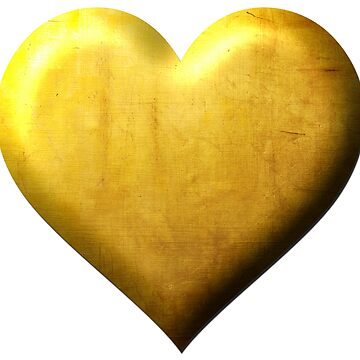 Golden Heart Elegant Design Punched In Gold by peter2art