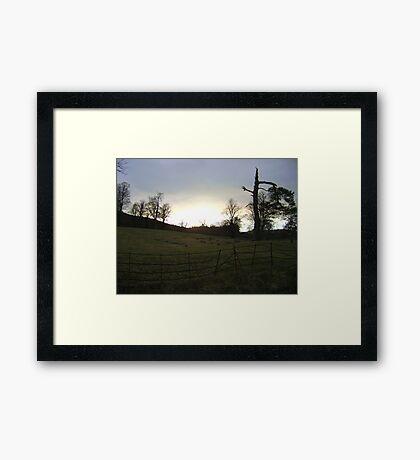 sunset, Falkland (trees, field with molehills, fence) Framed Print