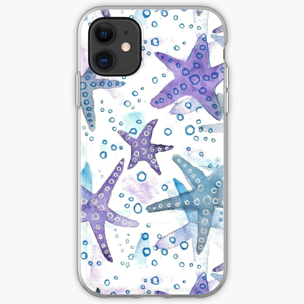 Hand Painted Watercolor Pattern - You Are My Starfish iPhone Case & Cover